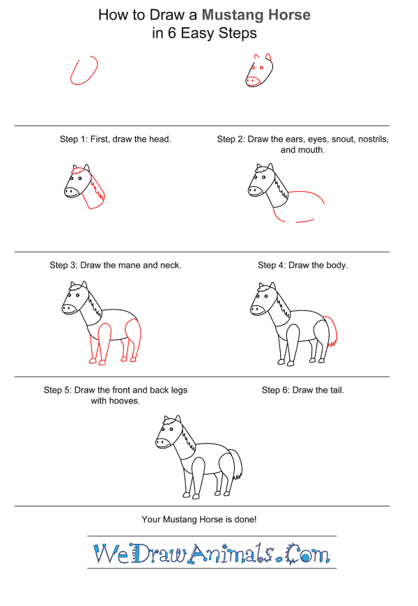 How to Draw a Mustang Horse for Kids - Step-by-Step Tutorial