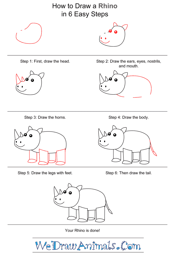 How to Draw a Rhino for Kids - Step-by-Step Tutorial