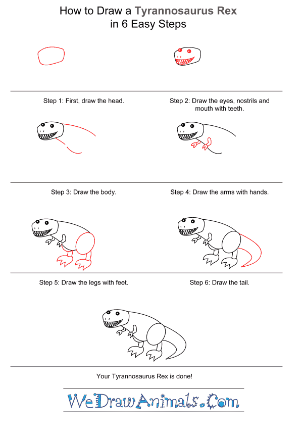 How to Draw a Tyrannosaurus for Kids - Step-by-Step Tutorial