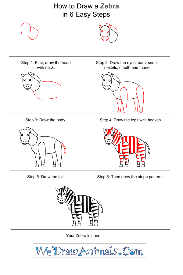 How to Draw a Zebra for Kids - Step-by-Step Tutorial